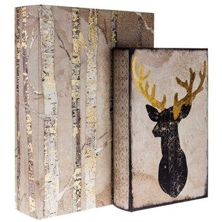 Hobby Lobby Decorative Boxes Tree & Deer Head Lined Book Box Set For His Man Cave From Hobby