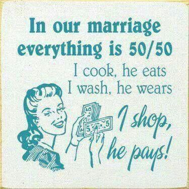 This shows the idea of traditional gender roles in a marriage where the woman is primarily in charge of the home as a housewife and the man is in charge of finances.