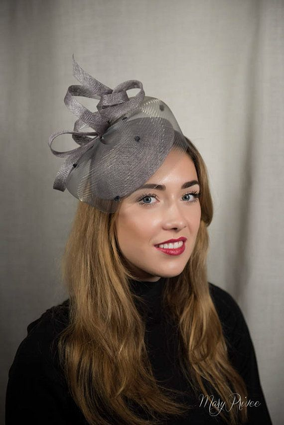 9e124435f7c61 Cocktail pillbox grey cocktail hat grey by MaryPriveeMillinery ...