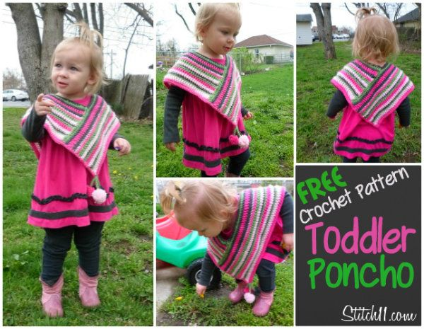 FREE crochet pattern ~ Poncho For Ella | Sewing | Pinterest | Free ...