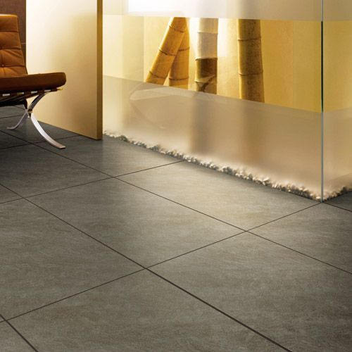 Earth Brown Sandstone ultra thin porcelain floor tiles used in a ...