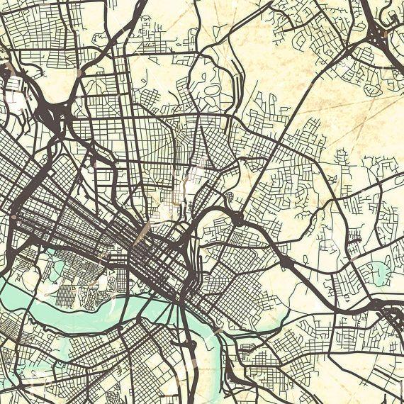 richmond va canvas print virginia va vintage map richmond va city ...
