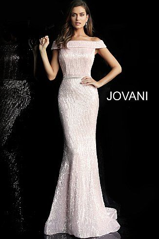 63d1dc5dc532 ... straight fold over neckline. Light Pink Off the Shoulder Fitted Sequin Prom  Dress 66031