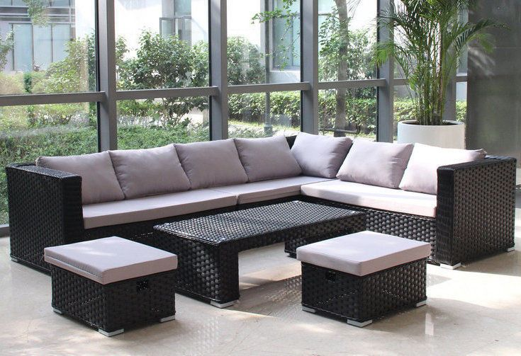 modern outdoor patio furniture. Garden Rattan Sofa Set Corner Seater Modern Outdoor Patio Wicker Furniture Black