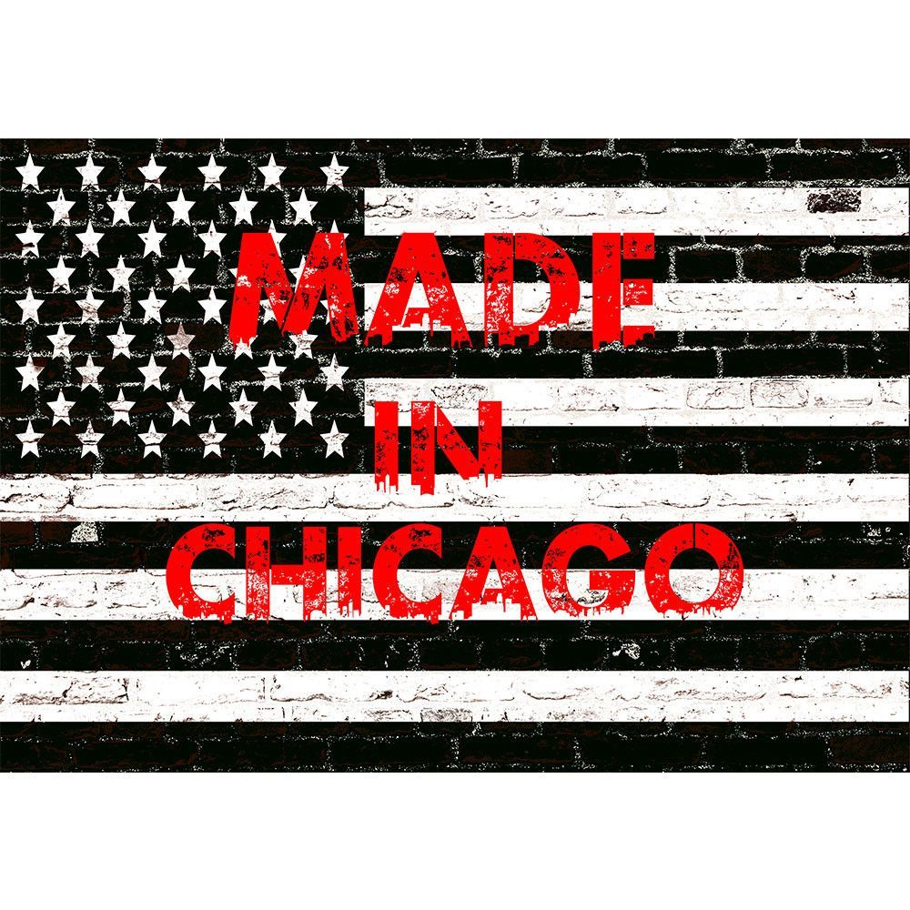 Black & White American Made In Chicago Flag