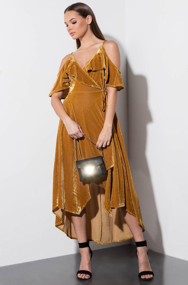 95cabea437d AKIRA Label Velvet Off Shoulder Midi Dress in Mustard Yellow