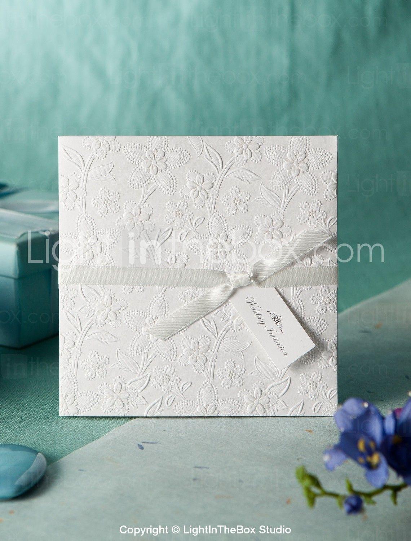 White Embossed Spring Flowers Wedding Invitation (Set of 50 ...