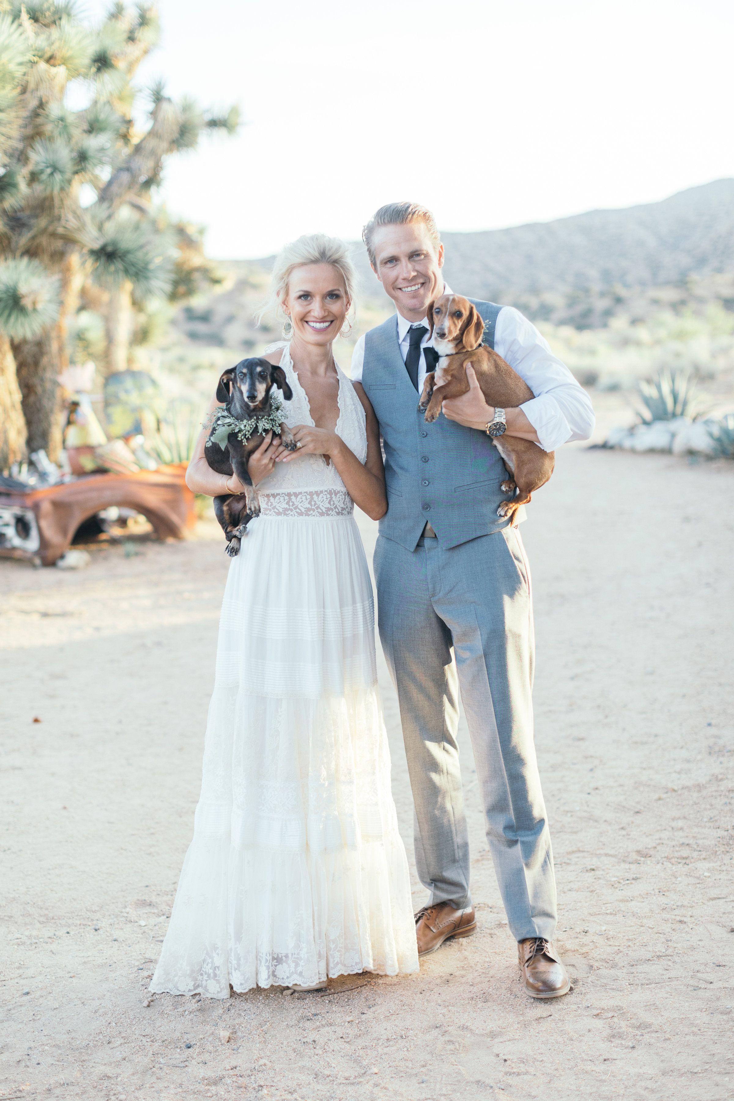 Boho Bride in Angelica Halter Gown, Dachshund dogs ...