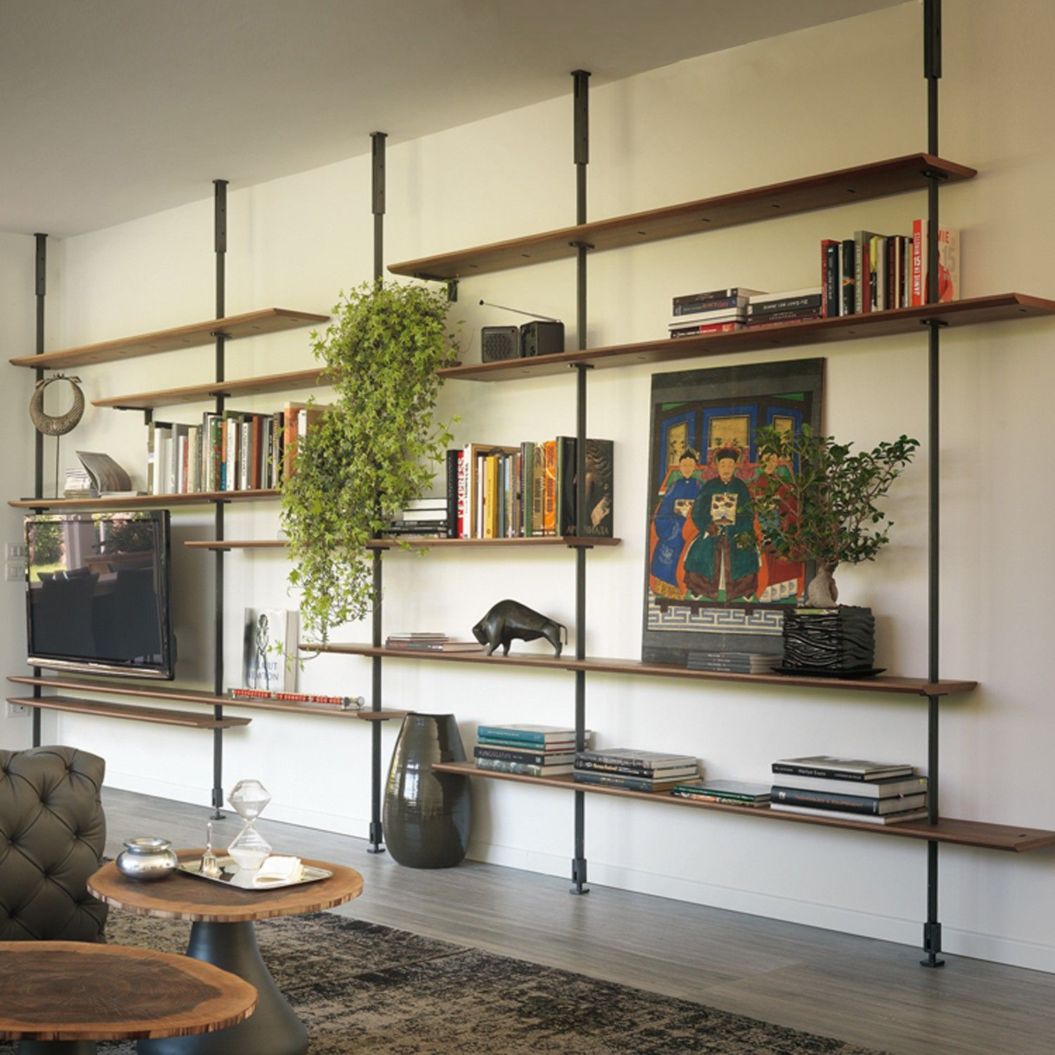 Fill Your Wall With An Expansive And Multipurpose Shelving Unit