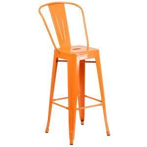 Flash Furniture 30 25 In Orange Bar Stool Ch3132030gbor Metal