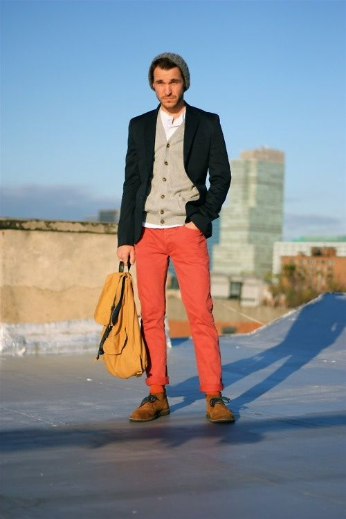 Color Pants, Heavy boots, Knit Caps, and think Layers. | Men's ...