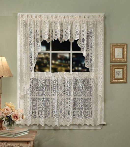 White Lace Valance For Kitchen