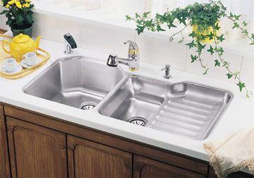Undermount Kitchen Sinks With Drainboard elkay eluh4221l lustertone double bowl undermount stainless steel