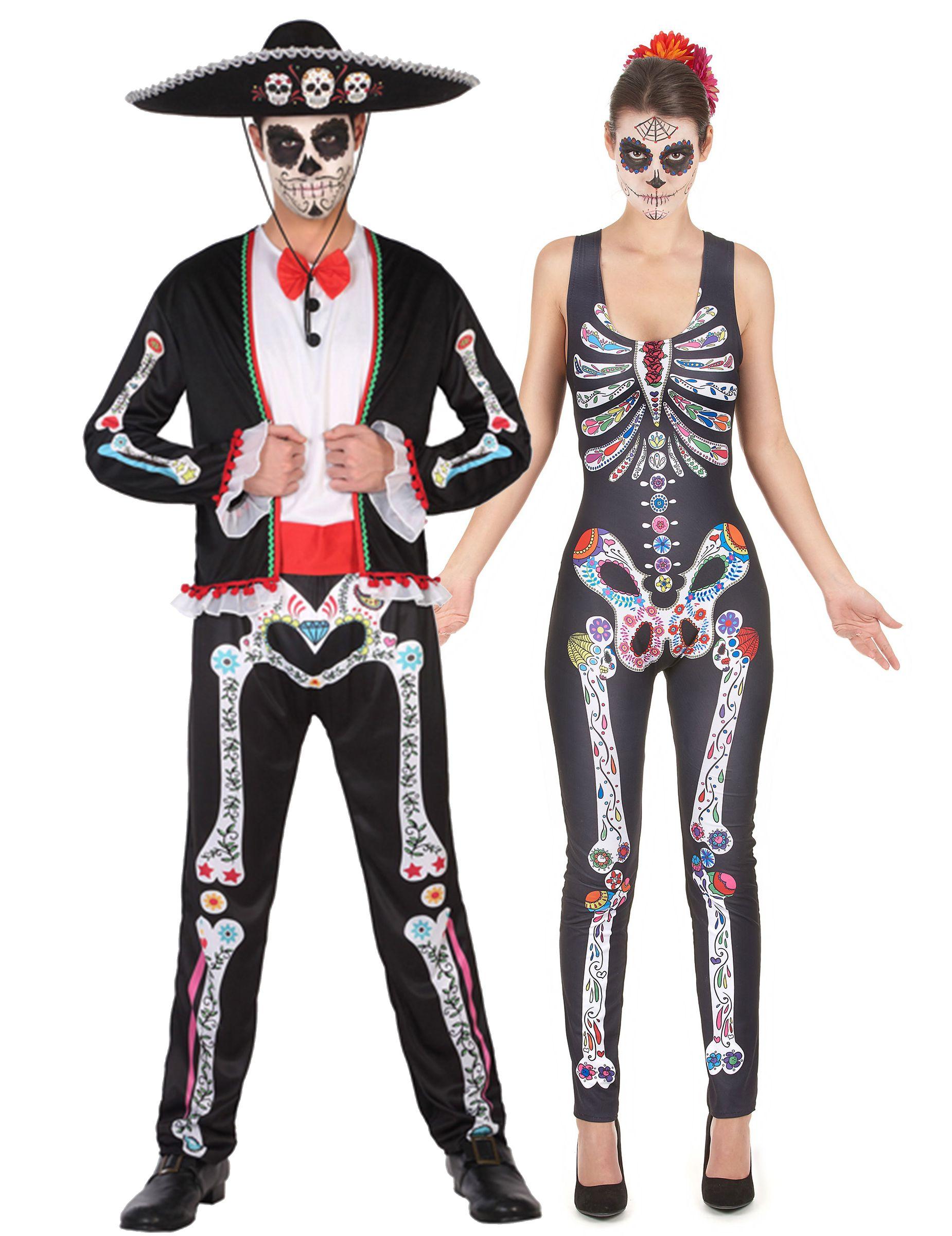 Costume coppia di scheletri colorati dia de los muertos  Il travestimento da  scheletro per donna
