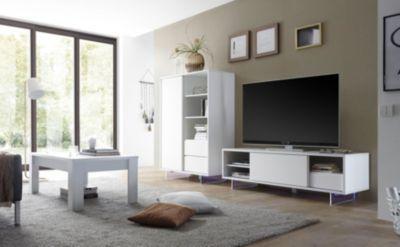 Hochschrank Wohnzimmer | Hochschrank Und Tv Element Weiss Matt Lackiert Fusse Aus Acrylglas