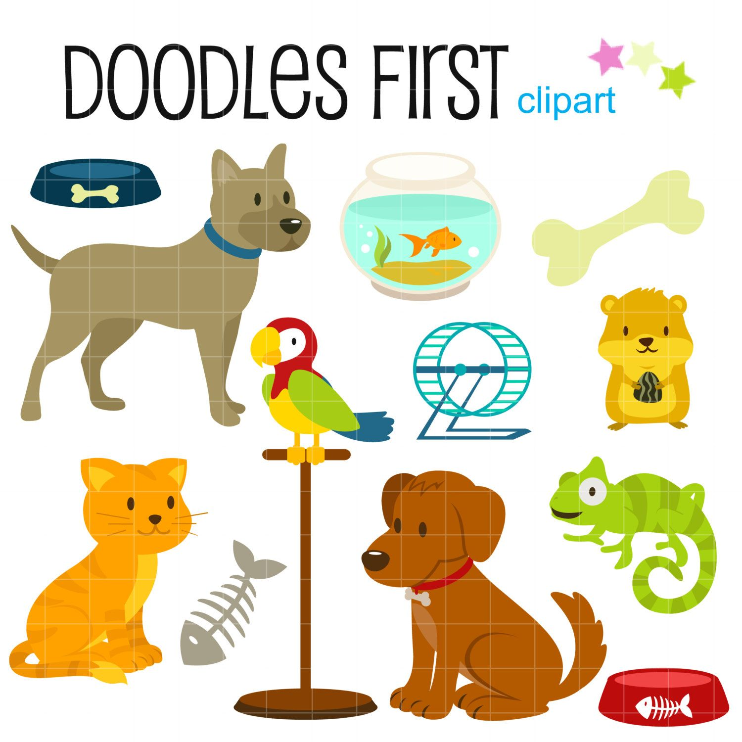 Petshop Animals And Accesories Digital Clip Art For Scrapbooking Card Making Cupcake Toppers Paper Crafts Dog Clip Art Cupcake Toppers Paper Clip Art
