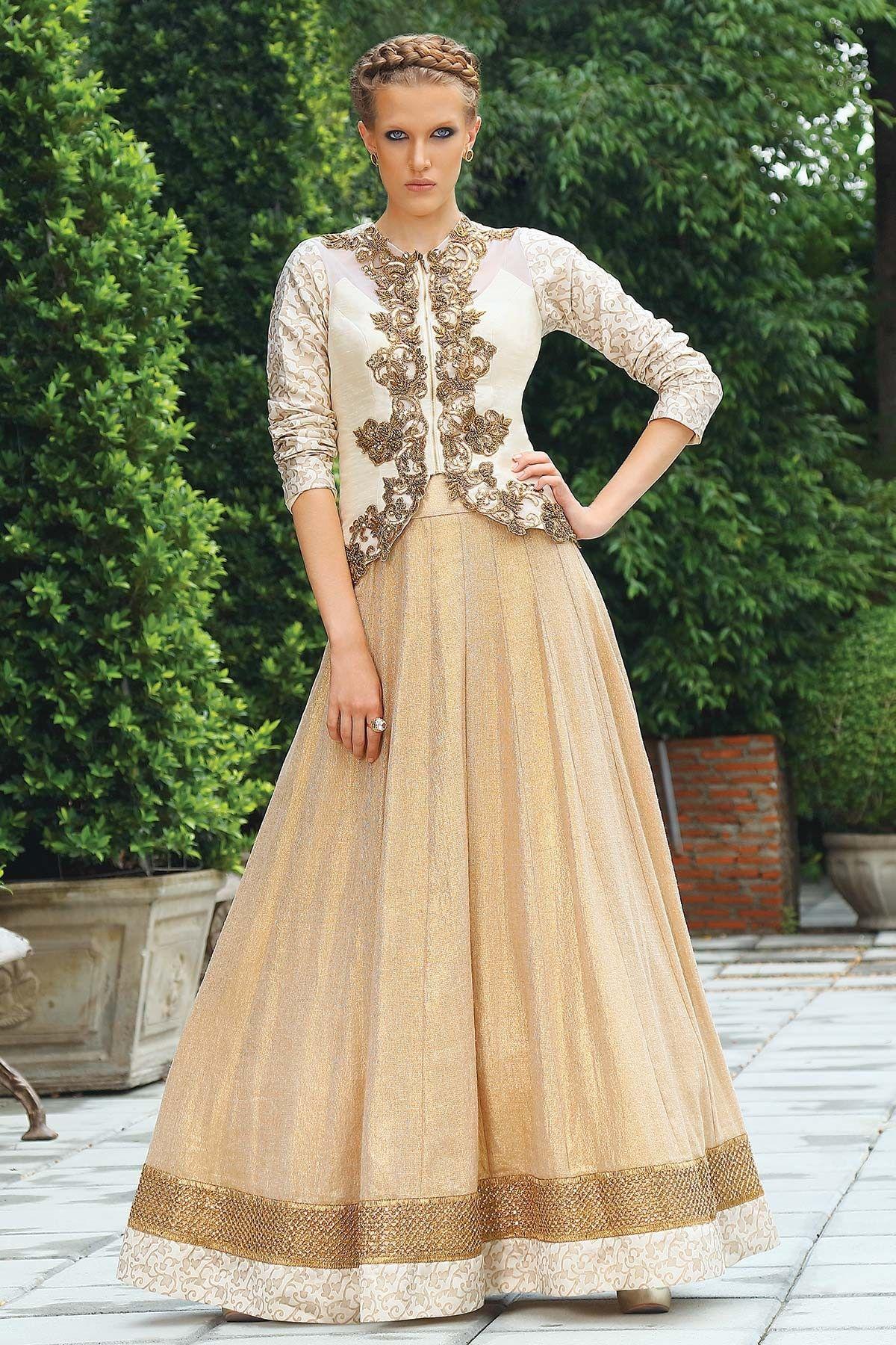 f59fa56ff7c32b #Cream & antique #gold raw #silk & georgette amazing #lehenga choli with  #zari embellished work -GC525