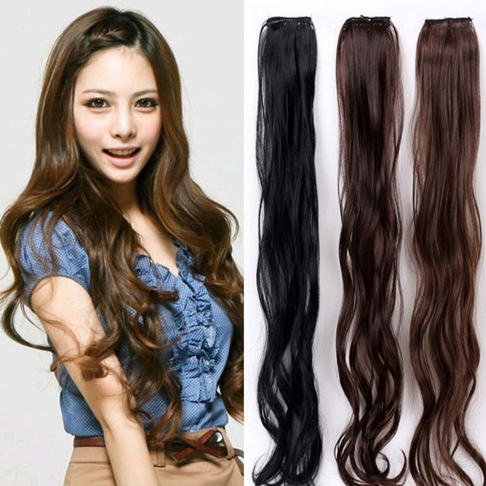 New 24 In Wavy Hairpiece Synthetic Clip In Hair Extension Long