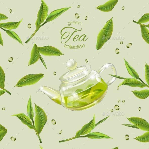 Green Tea Pattern Tea Leaves Illustration Tea Illustration Green Tea