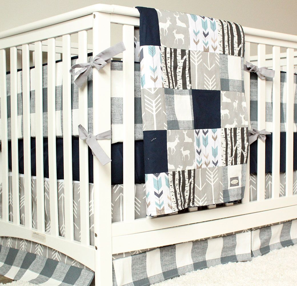 woodland nursery bedding set, deer crib bedding, navy blue, gray