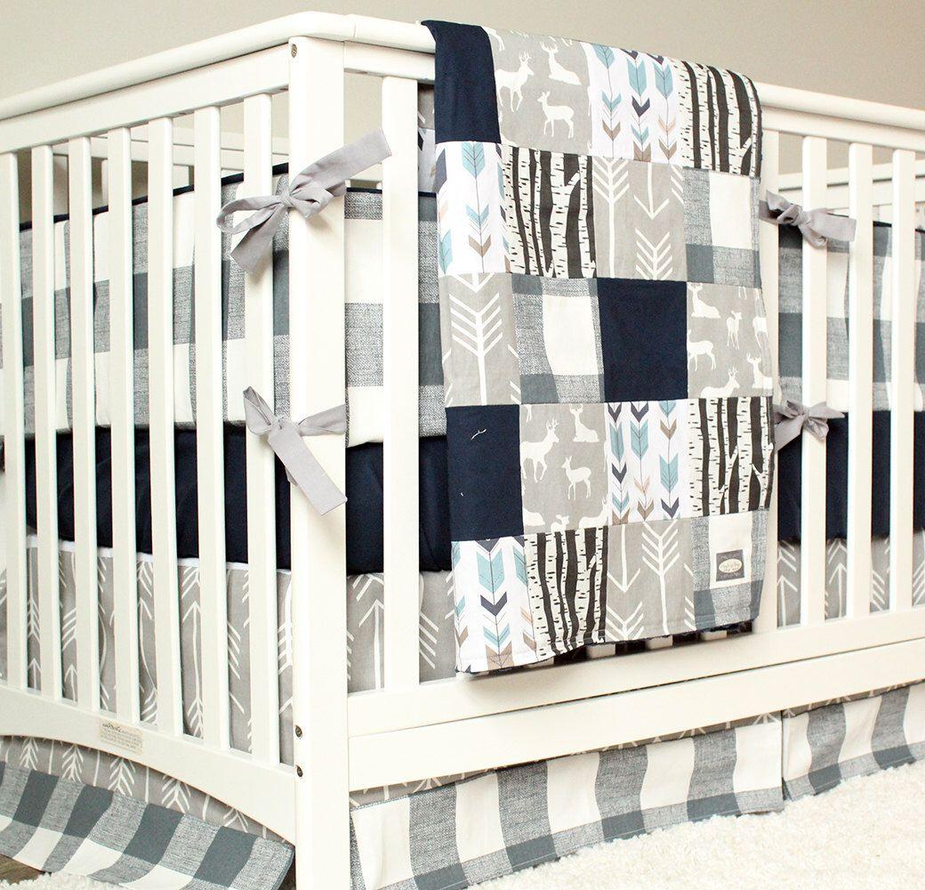 Woodland Nursery Bedding Set Deer Crib Bedding Navy Blue Etsy Woodland Nursery Bedding Crib Bedding Boy Boy Nursery Bedding