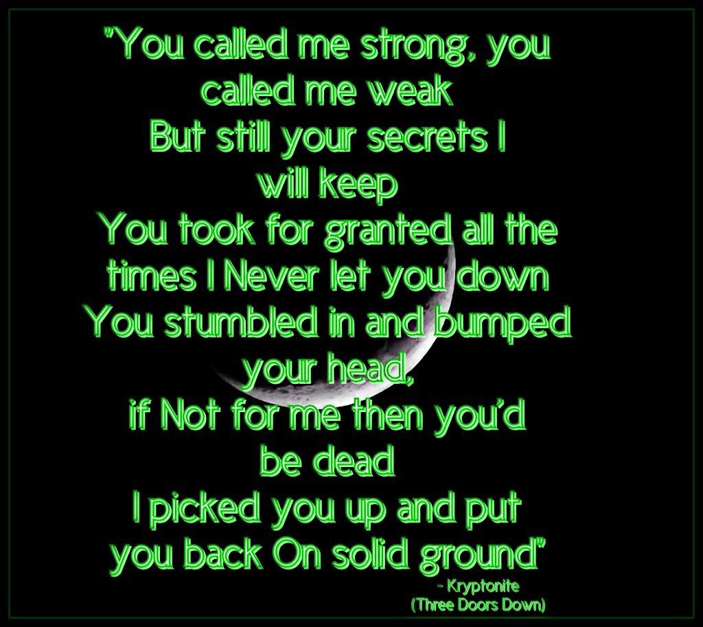 Kryptonite Three Doors Down Favorite lyrics, Song