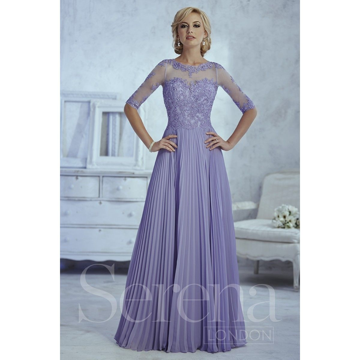 Serena London Style 17773 with a Bateau neckline and three quarter ...