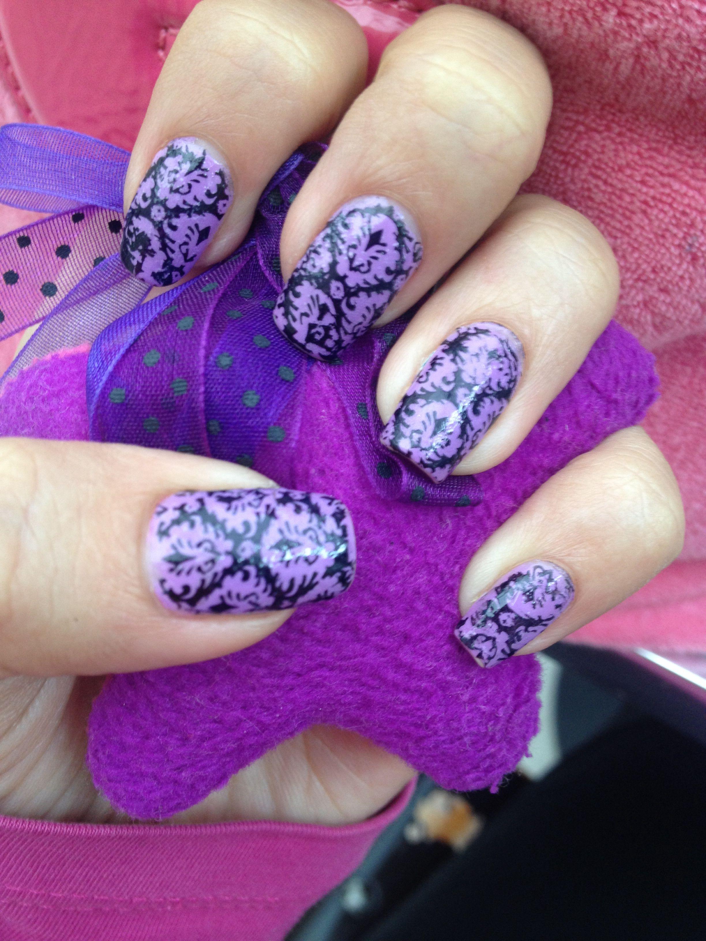 purple & black impress nails