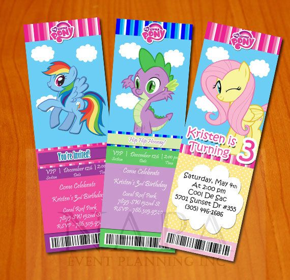 My Little Pony Ticket Style Invitation Digital File Diy My