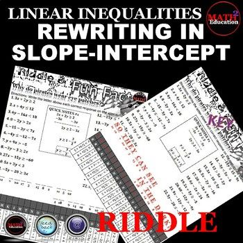 Writing Linear Inequalities Slope Intercept Form Riddle Math