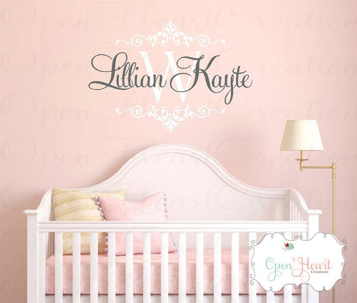 Nursery Wall Decal - Girl or Boy Baby or Teen Personalized Initial and Name Monogram Vinyl Wall Decal - Shabby Chic Accents 22h x 32w FN0418. $45.00, via Etsy.