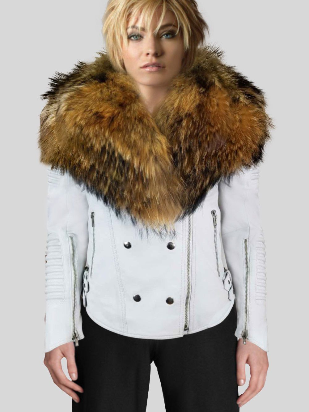 Details about SNOW WHITE LEATHER JACKET WITH REAL FUR