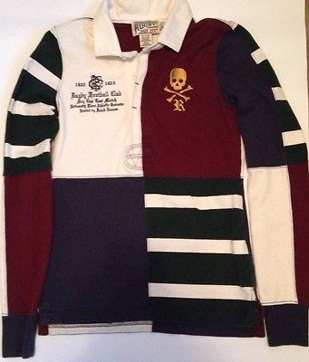ca5707f5b35a RUGBY Ralph Lauren Flag Skull Patch Rugby Football Club Long Sleeve Small  Polo