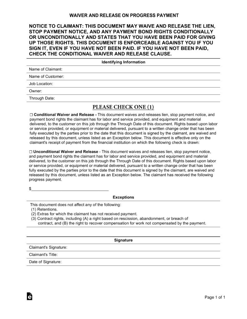 28 Lien Waiver Form Template In 2020 Resume Objective Examples