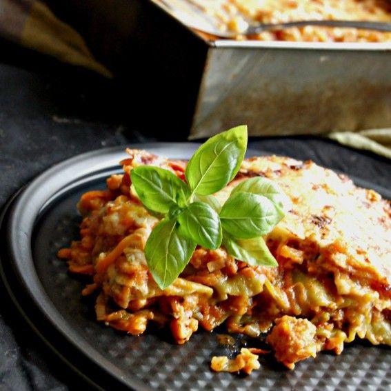 Lazanija su sojų mėsa ir daržovėmis