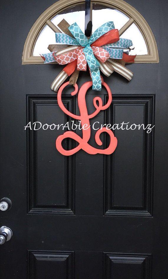 Monogram Letter Door Hanger, Monogram Door Hanger, Monogram initial Door Hanger, Mongram Wreath