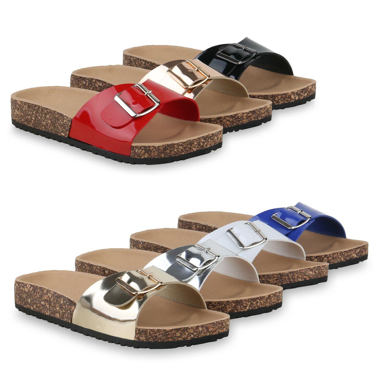 Damen Sandalen Pantoletten Schleife Hausschuhe Bequeme Schlappen 830745 Schuhe
