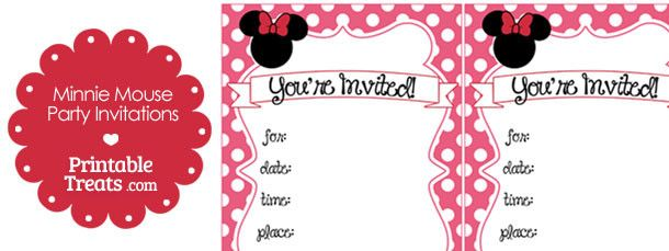 freeprintablepinkminniemouseinvitations Mickey Minnie Party