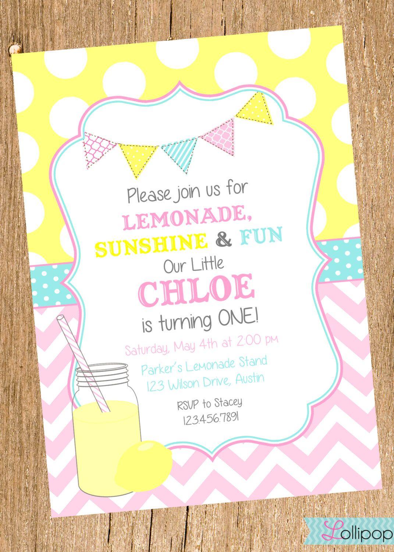 Vintage LEMONADE Printable Birthday Invitation, Vintage Pink ...