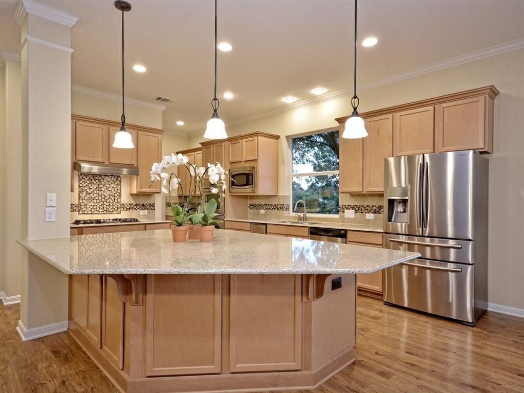 Transitional Kitchen with Columns, Limestone, Ceramic Tile, Hardwood ...