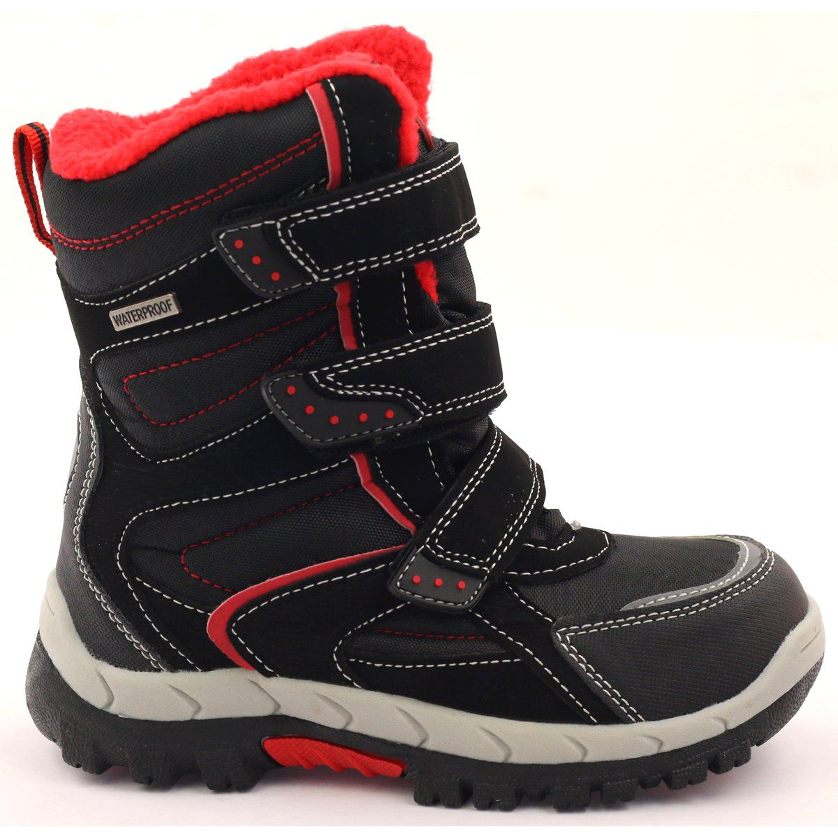 American Club Kozaczki Z Membrana Czarne 1710 Czerwone Boots Shoes Winter Boot