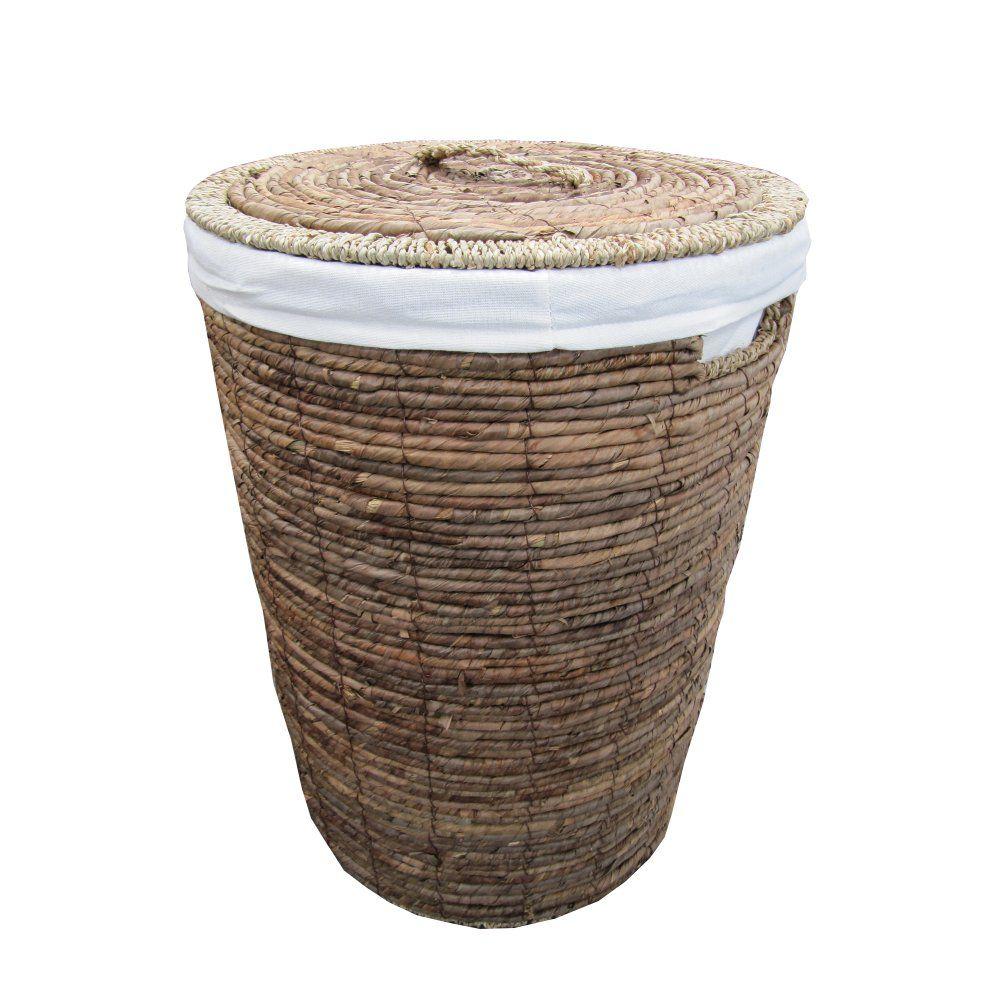 Wicker storage basket home storage baskets melbury rectangular wicker - Natural Brown Banana Leaf Seagrass Round Laundry Basket