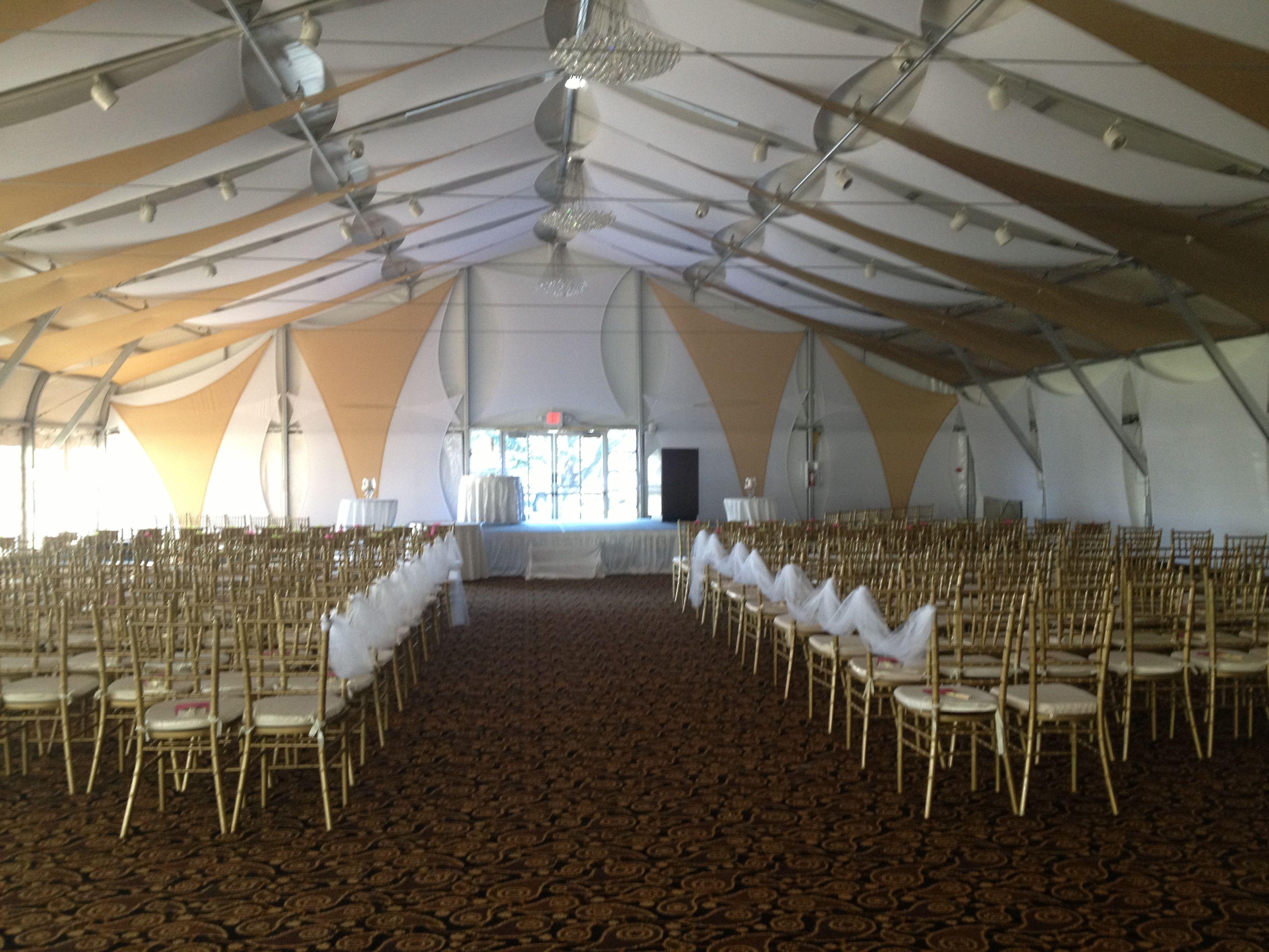 White & Gold Ceremony in Poolside Pavilion | Hyatt Regency San ...