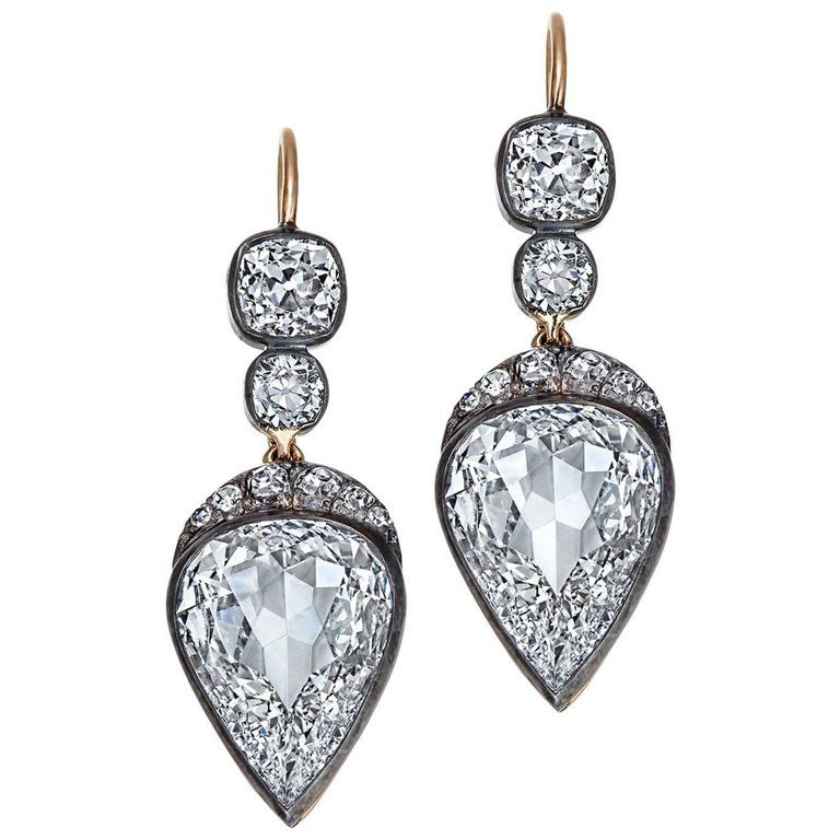 Old Mine Pear Cut Gia Certified Diamond Gold Silver Drop Earrings