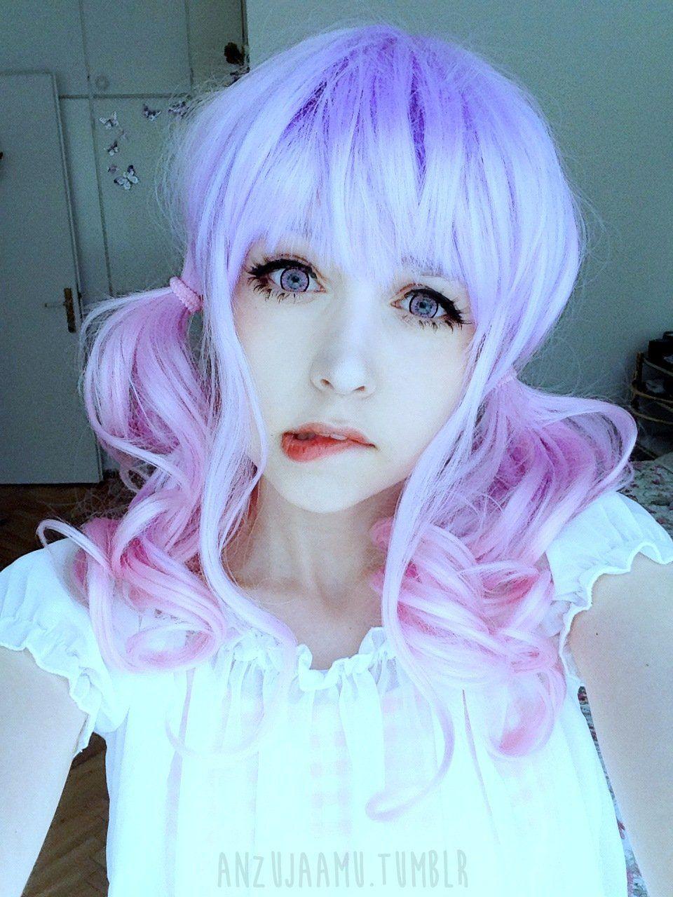 Kawaii cute soft pink pastel harajuku curly sugar wavy ombre