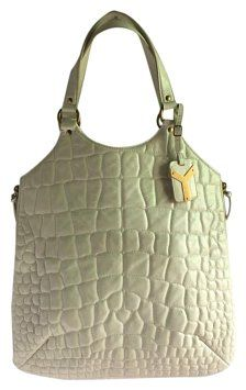 05f066b6ab1 Saint Laurent Tribute Ysl Large Croco White Patent Leather Tote 72 ...
