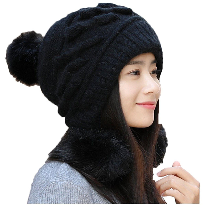 5decb09ef52 Winter Women s Korean Cute Young Fashion Earmuffs Knitted Hat - Black -  CR187MZ4O9D - Hats   Caps