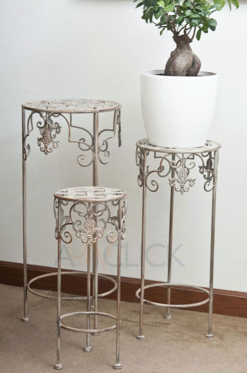 3 mesa porta macetas de fierro decoraci n para tu hogar - Pedestales para macetas ...