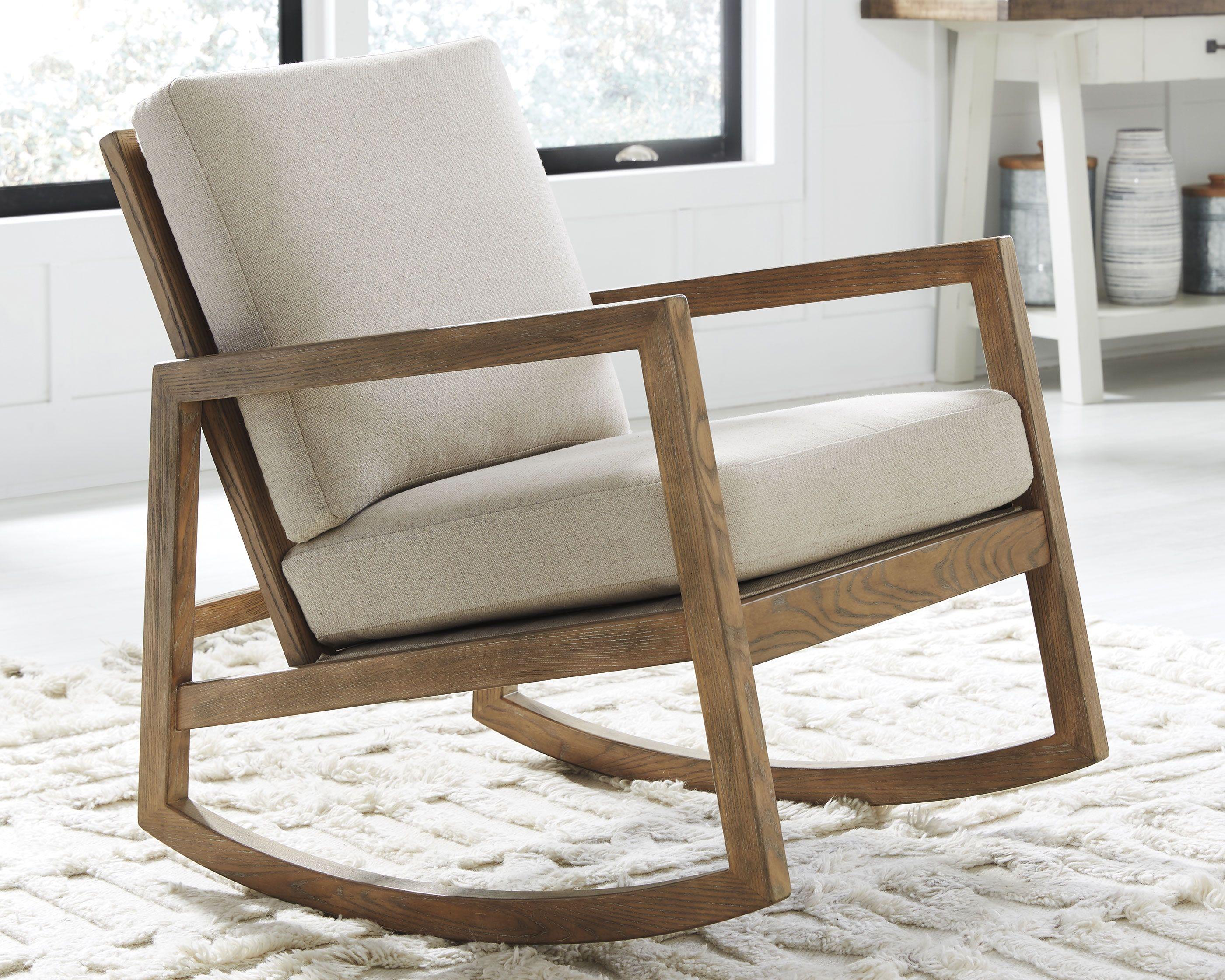 Novelda Rocker Accent Chair Neutral Rocking Chair Living Room