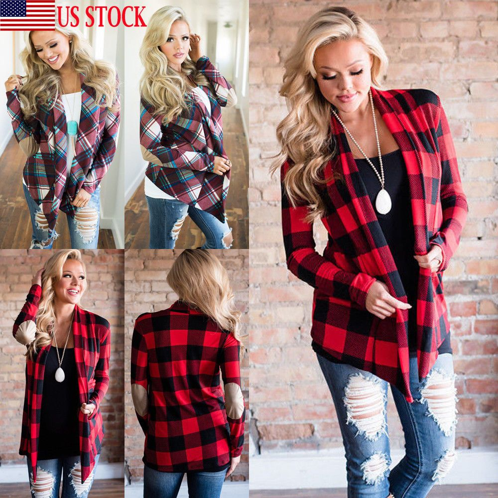 Flannel cardigan womens  Womens Long Sleeve Flannel Plaid Shirts Cardigan Blouse Casual